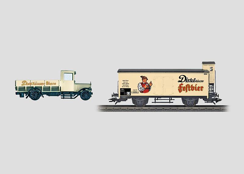 """Güterwagen-Set """"Distelhäuser"""" mit Metall-LKW."""