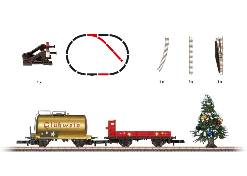 christmas add on set car set with a siding and a christmas tree