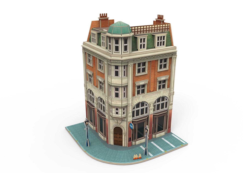 """Märklin Start up - 3D Gebäude-Puzzle """"Eckhaus mit Bank"""""""