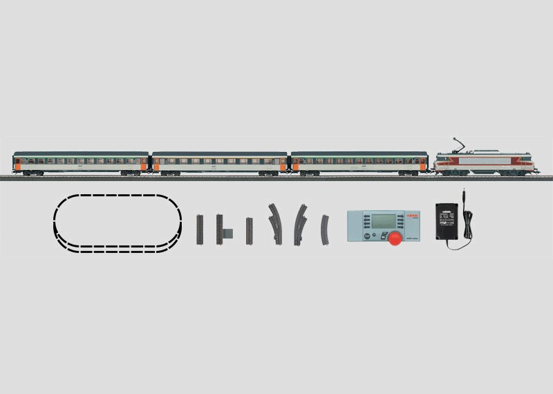 French Digital Starter Set. Express Train with a Large C Track Layout, Transformer, and Mobile Station. 230 volts.