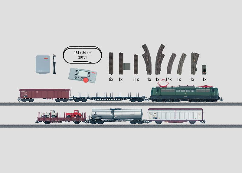"""Digital-Startpackung """"Güterzug - Epoche IV"""". Güterzug mit großer C-Gleis-Anlage, Transformator und Mobile Station. 230 Volt."""