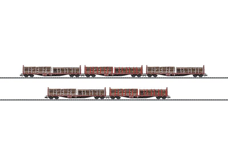 Set mit 5 Holztransportwagen.
