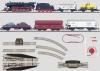 Große Güterzug-Startpackung mit großer Gleisanlage und Fahrgerät mit Steckernetzgerät und passendem Fahrregler. 120 Volt.