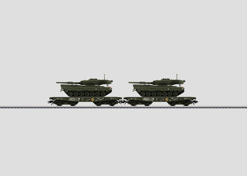 "Bundeswehr: Bahntransport mit 2 Kampfpanzern ""Leopard 2"" A1."