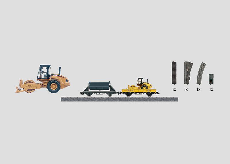 """Uitbreidingsset """"Bouwplaats"""" met C-rails, 2 goederenwagens en bouwvoertuig."""
