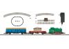 Weihnachts-Startpackung 120 Volt. Güterzug mit Gleisoval und entsprechender Stromversorgung.