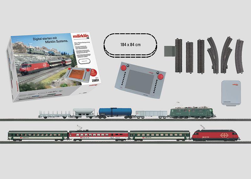 """Mega-Digital-Startpackung """"Schweiz"""" mit 2 Zügen. Schnellzug und Güterzug mit großer C-Gleis-Anlage, Central Station und Transformator. 230 Volt."""
