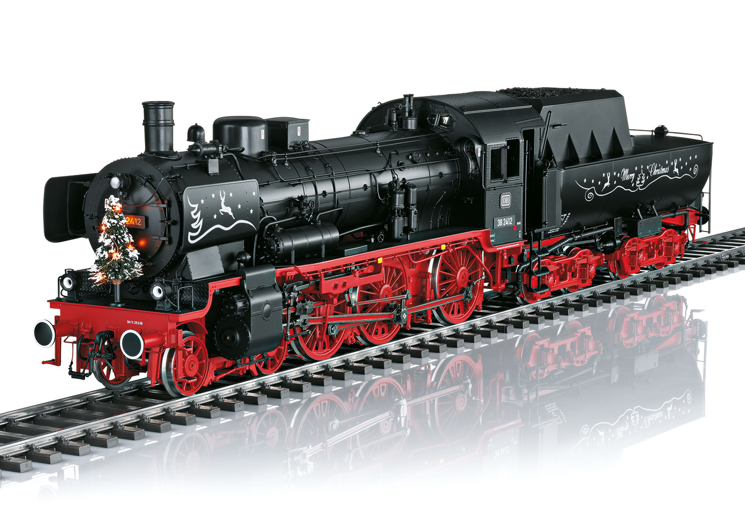 Christmas Steam Locomotive with a Tub-Style Tender.