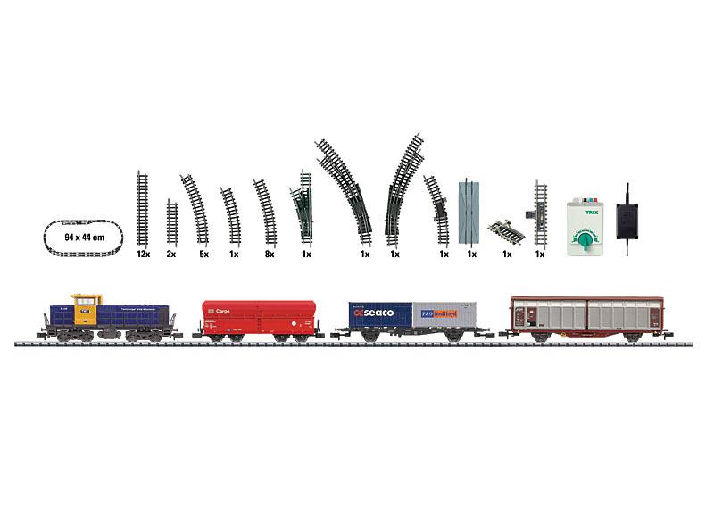 Startpackung mit Güterzug, Gleisanlage und Fahrgerät.