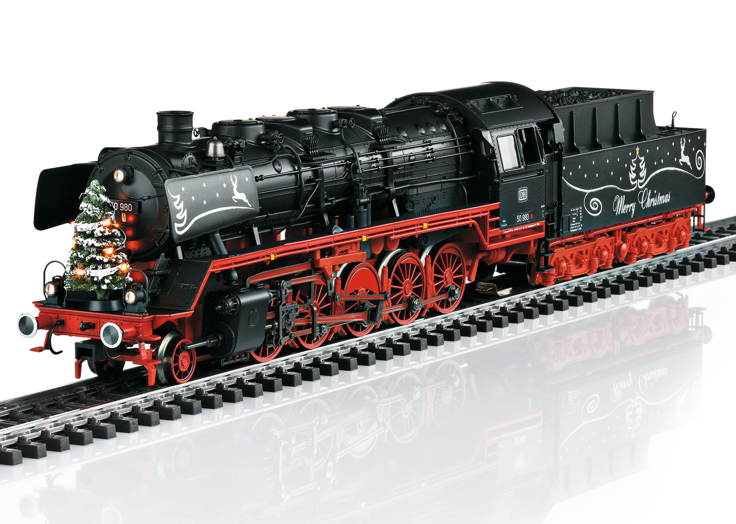 Christmas Steam Locomotive with a Tender