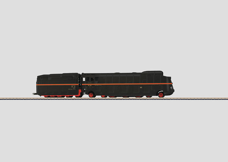 Stromlinien-Dampflokomotive.
