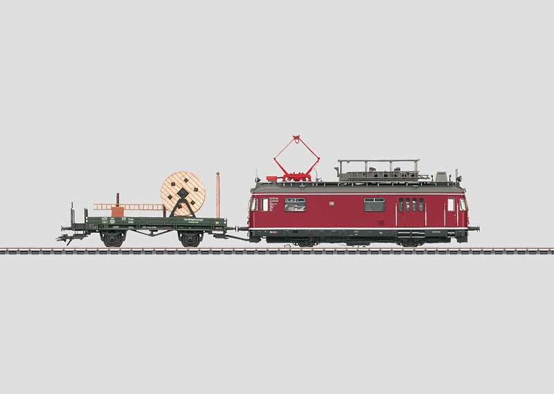 Powered Catenary Maintenance Rail Car with a Catenary Wire Parts Car.