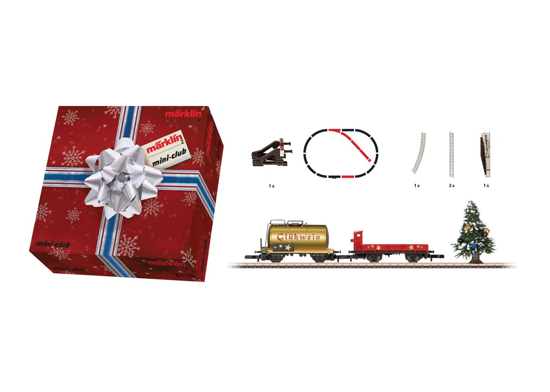 Weihnachts-Ergänzungspackung. Wagenset mit Abstellgleis und Weihnachtsbaum