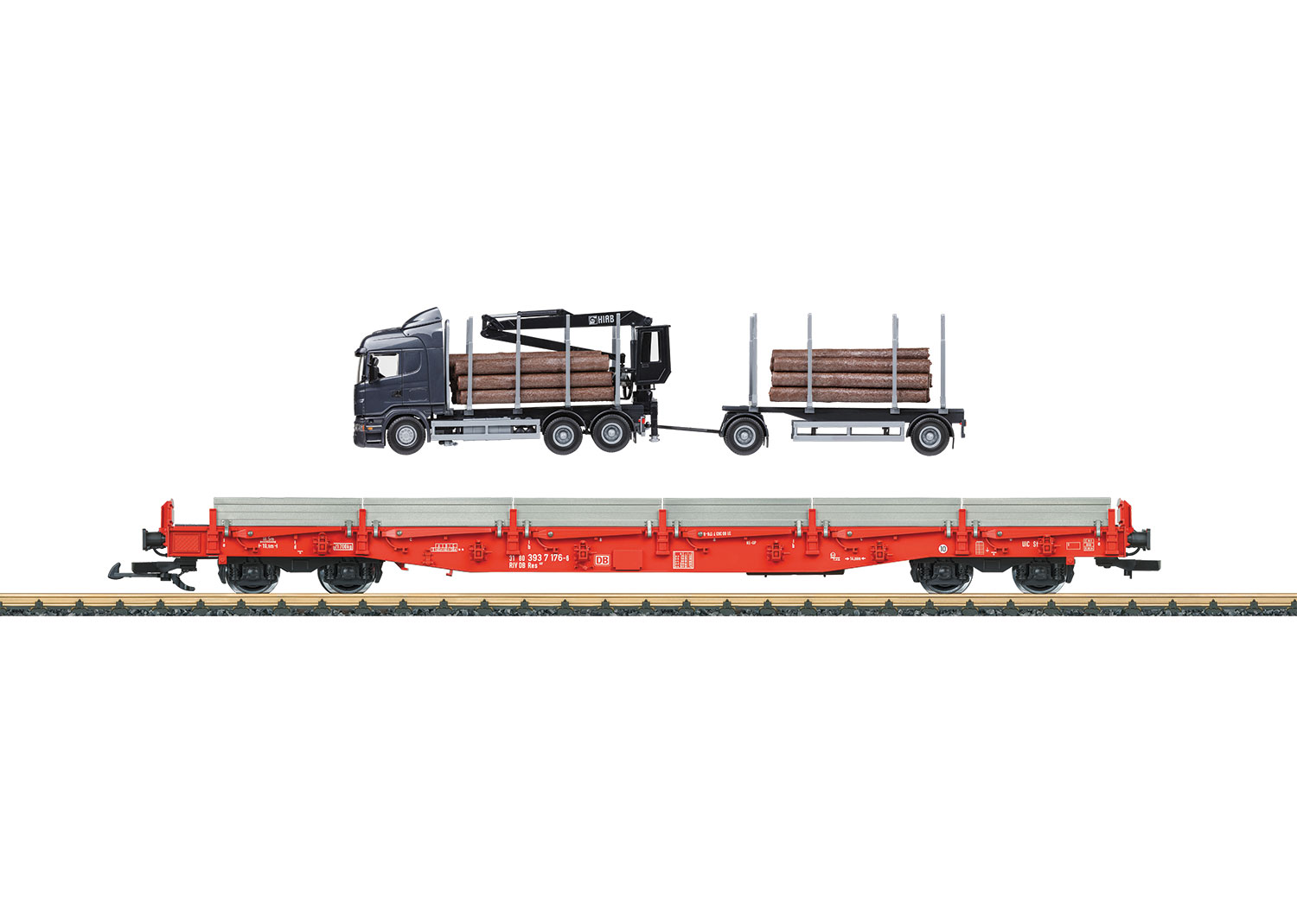 DB AG Stake Car Set with a Semi-Truck Rig for Lumber and Logs