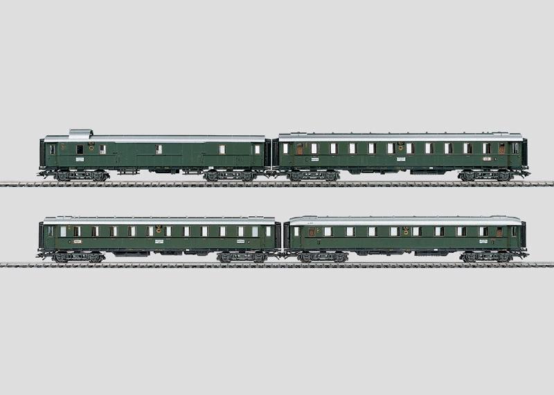 Express Train Car Set of the German State Railroad Period.