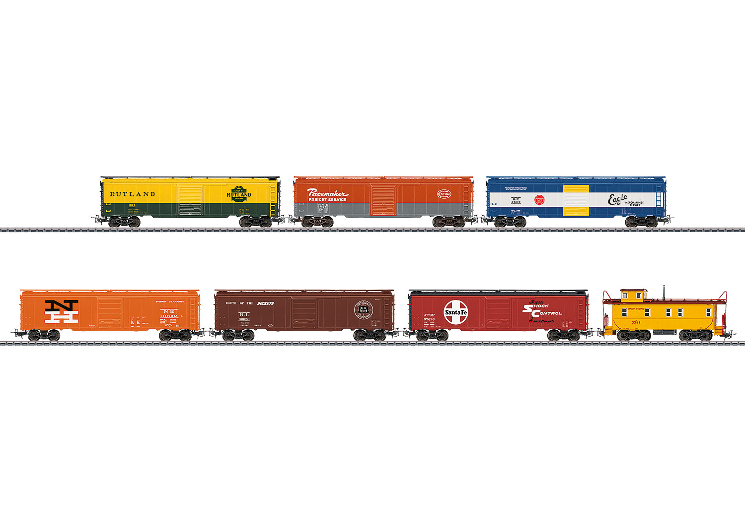 """Set with 6 """"Tin-Plate"""" Freight Cars"""