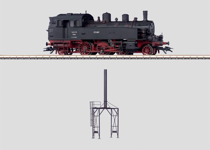 Dampflokomotive mit Heizkamin.