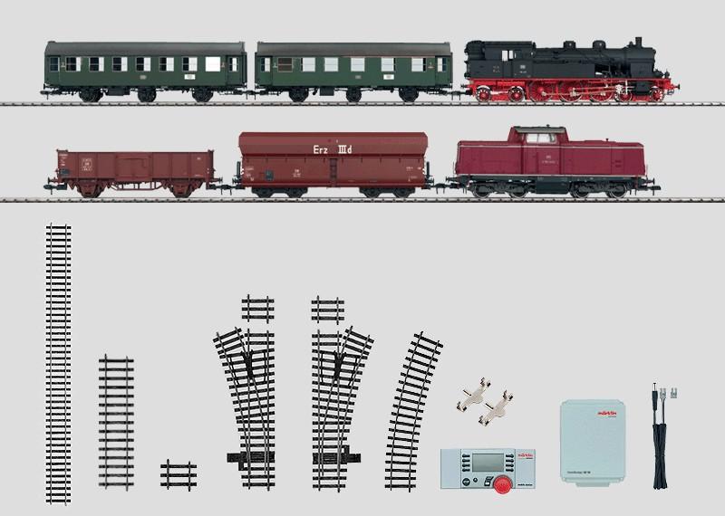 Mega-Digital-Startpackung 230 Volt mit 2 Zügen. Personenzug und Güterzug mit großer Gleisanlage, Transformator und Mobile Station.