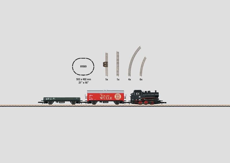 Starter Set for 230 Volts. Freight Train with an Oval of Track and Appropriate Power Supplies