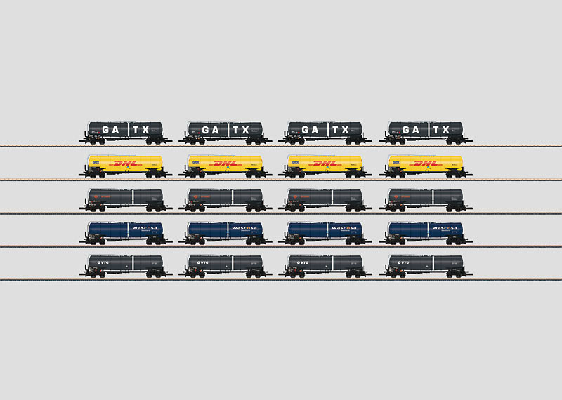 Freight Car Display with 20 Different Tank Cars