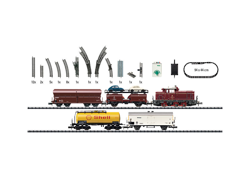 """Start-Set """"Verschiebezug"""" mit Gleisanlage und Fahrgerät."""