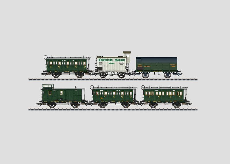 Personenwagen-Set mit Güterbeförderung.