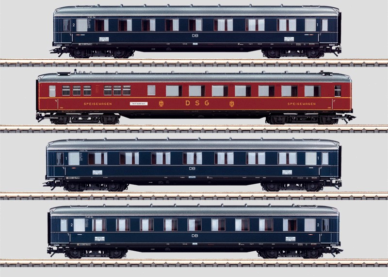 """Set - 4 Schnellzugwagen """"Rheingold""""."""