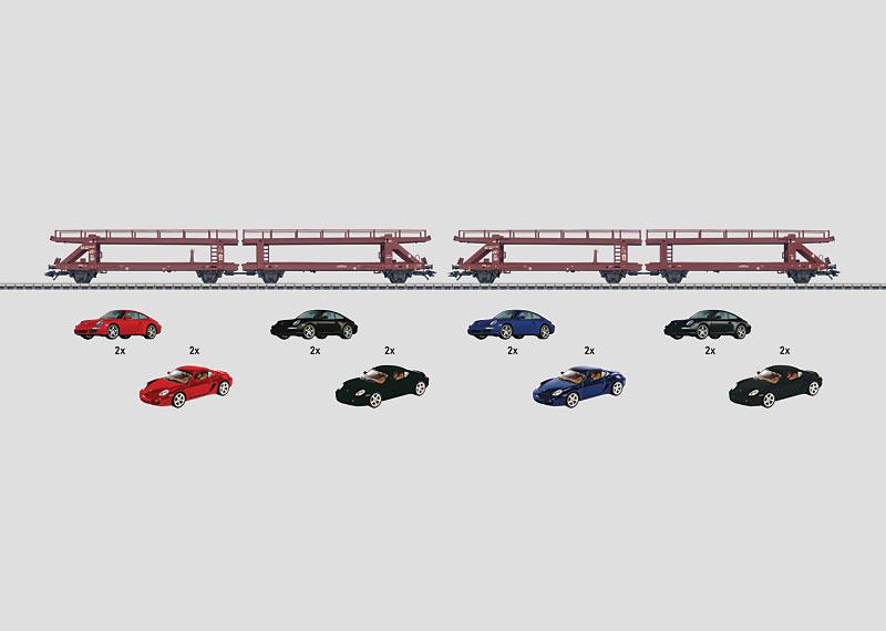 """Set mit 2 Autotransportern """"Sportwagen""""."""