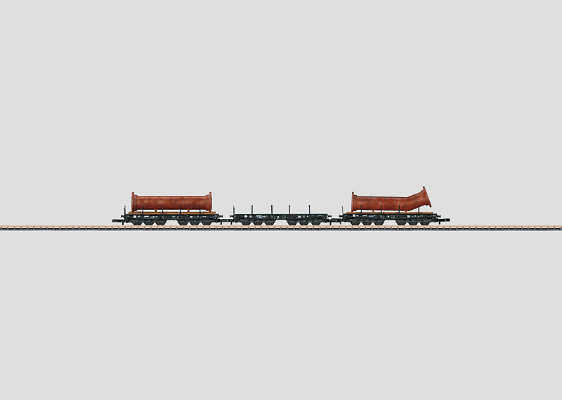 Heavy-Duty Flat Car Set with a Load of Flanged Pipe