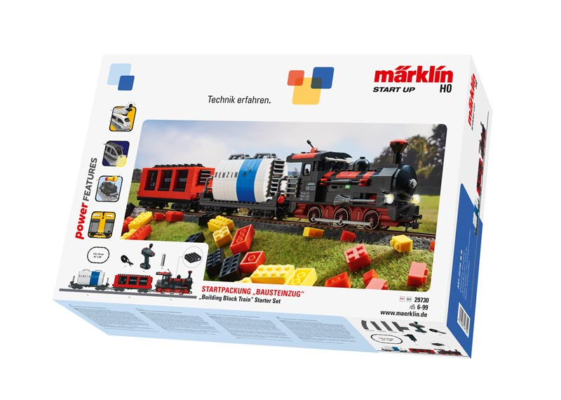 """Märklin Start up - coffret de départ """"Train en briques encastrables"""" avec son et briques lumineuses."""