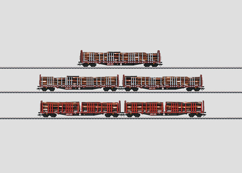Set with 5 Wood Transport Cars.