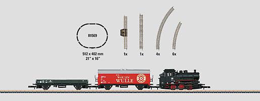 Coffret de démarrage 230 volts. Train marchandises avec ovale de voie et alimentation en courant adapté