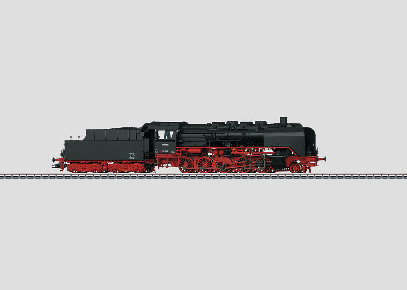 Freight Train Steam Locomotive with a Tender.