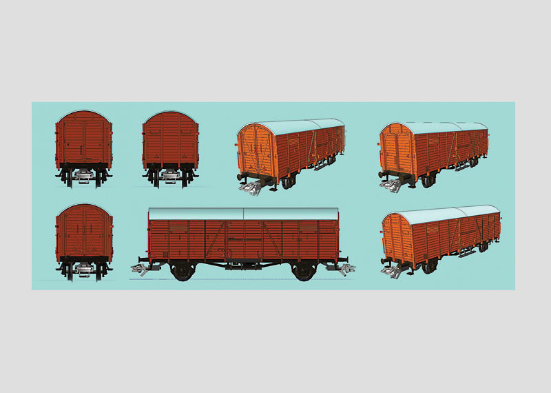 """Display with 20 """"Dresden"""" Freight Cars."""