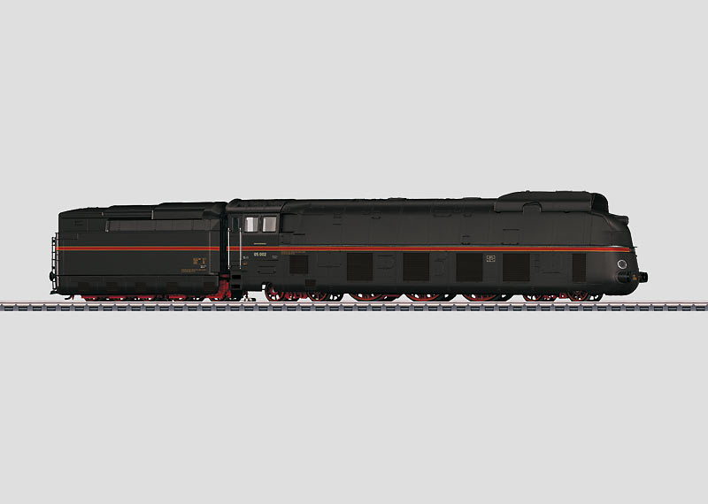 Streamlined Steam Locomotive with a Tender.
