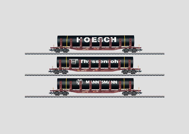 Transport buizen: Set met 3 rongenwagens.