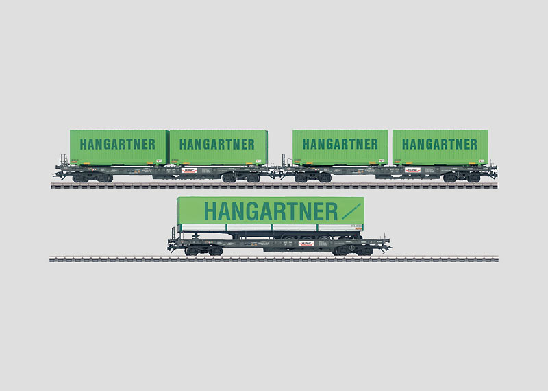 Set with 3 Loaded Deep Well Flat Cars.
