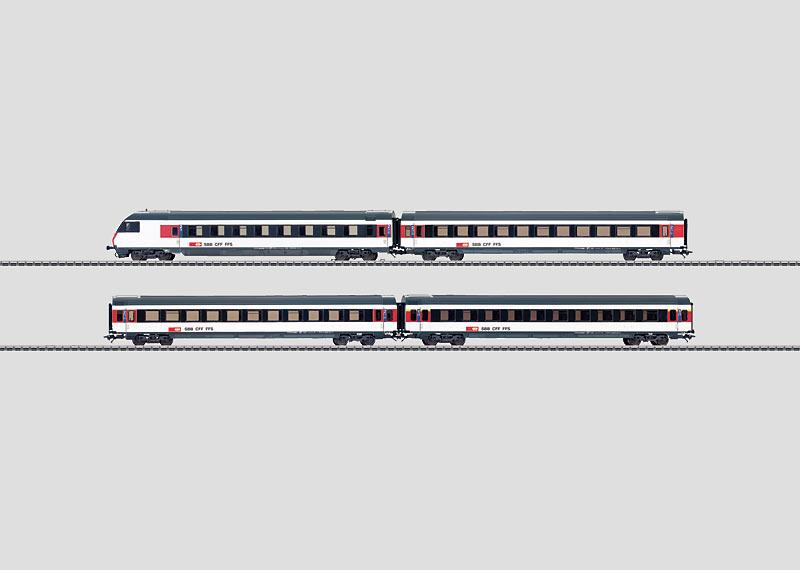 Express Train Passenger Car Set for Shuttle Trains.