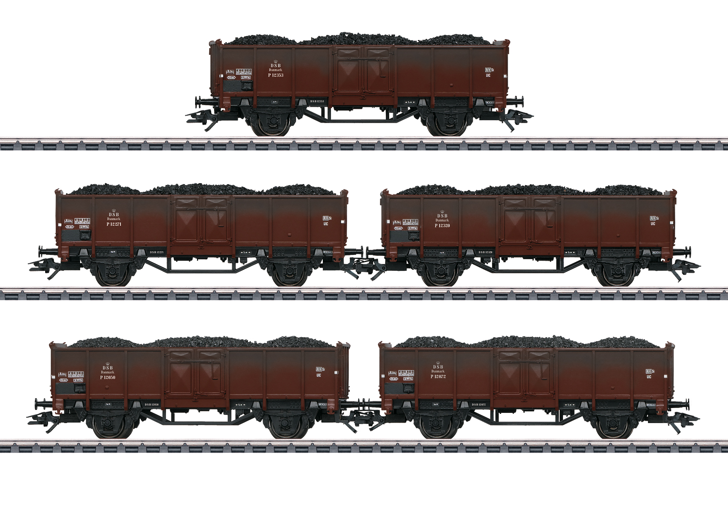 Set with 5 Type P Freight Cars