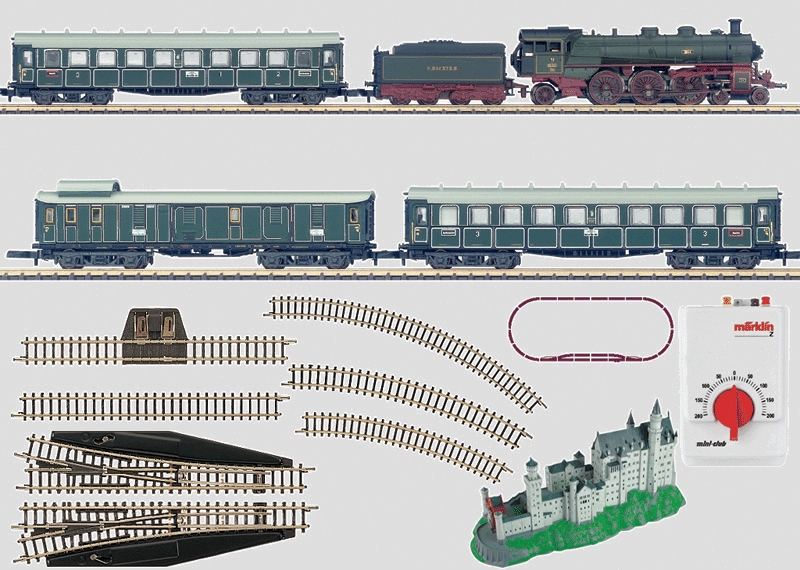 """""""King Ludwig II"""" Starter Set with a Bavarian Passenger Train, a Kit of Neuschwanstein Castle, a Track Layout, and a Power Pack. 230 volts."""