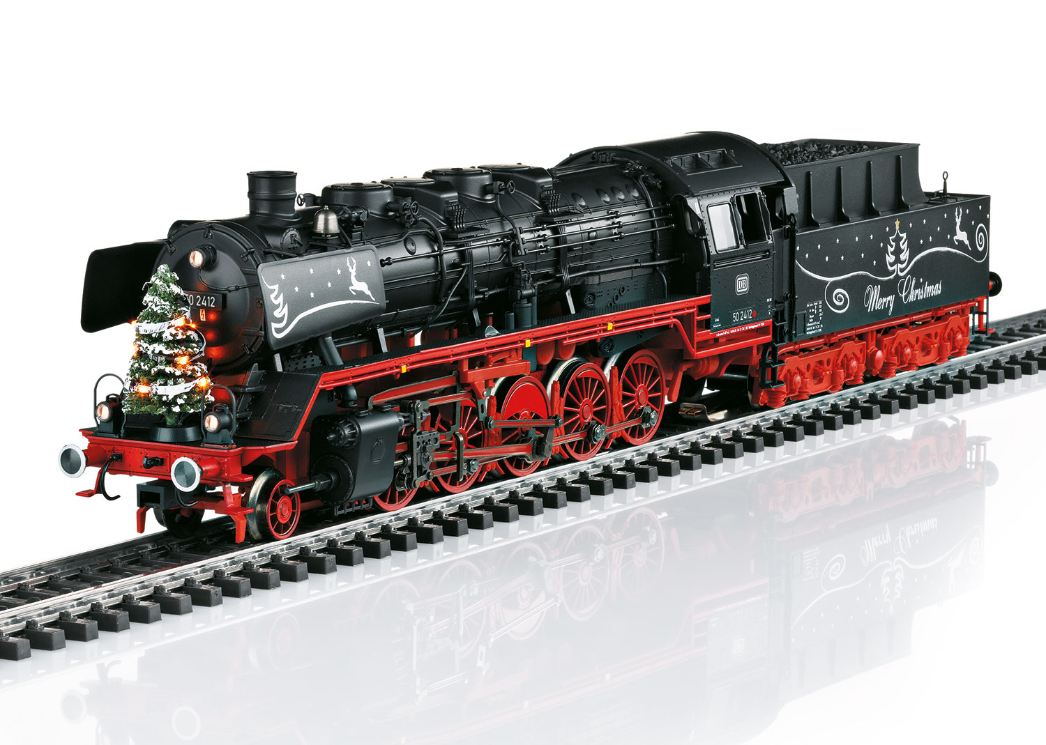 Christmas Steam Locomotive with a Tender.