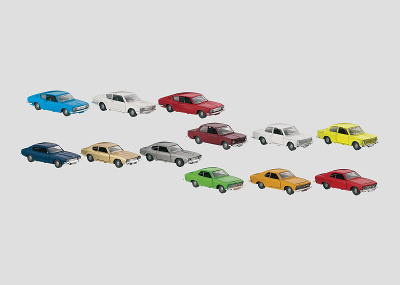 Set with 12 Reproduction Model Automobiles in a Display.