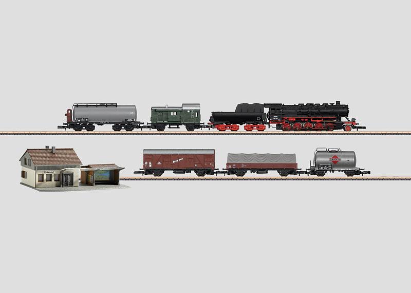 Startpackung 230 Volt. Güterzug mit großer Gleisanlage, Bahnhofsbausatz und Steckernetzgerät mit passendem stufenlosem Fahrregler