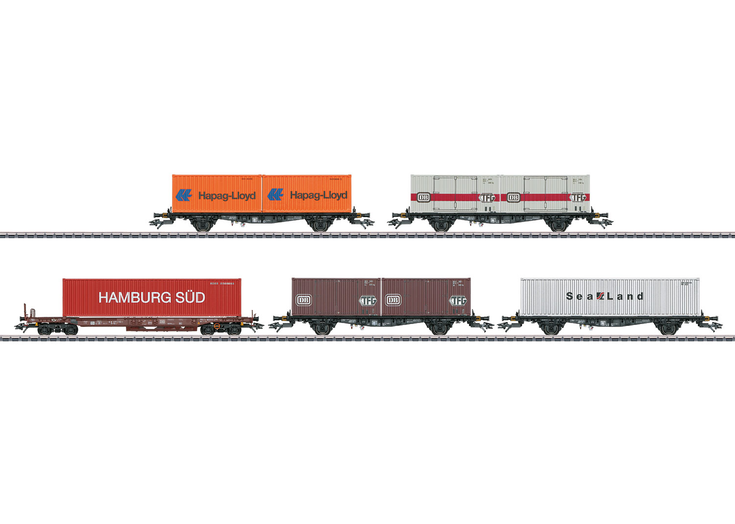 Container Flat Car Set with 5 Cars