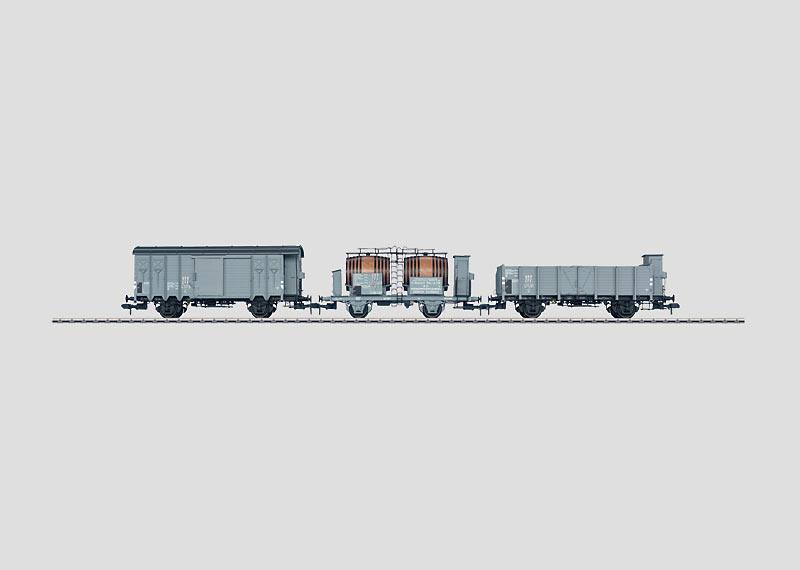 Set mit 3 Schweizer Güterwagen.