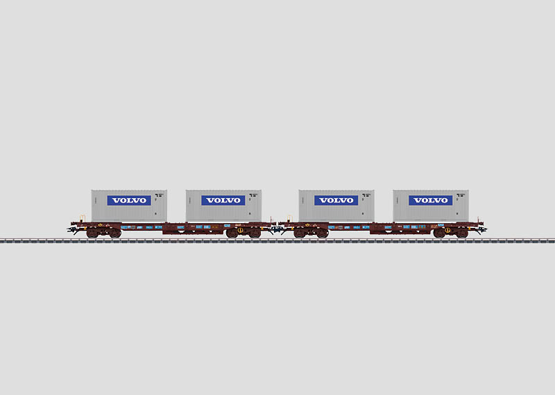 Set with 2 Loaded Deep-Well Flat Cars.