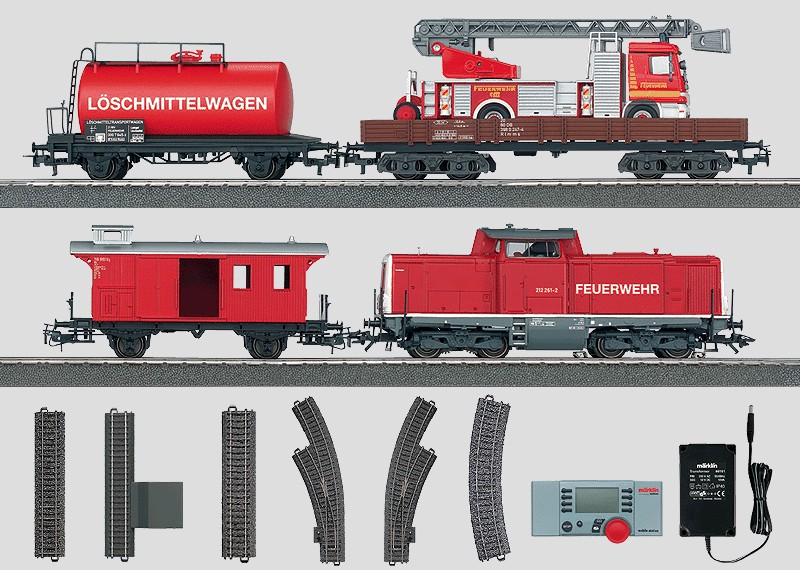 Fire Department Digital Starter Set. Relief Train with a Diesel Locomotive and a Large C Track Layout, Transformer, and Mobile Station. 120 volts.