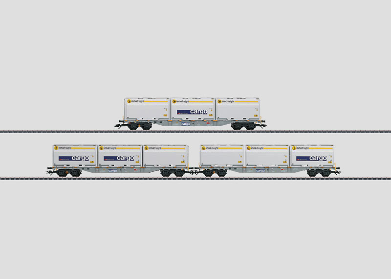 Container Flat Car Set with WoodTainer XXL Containers.