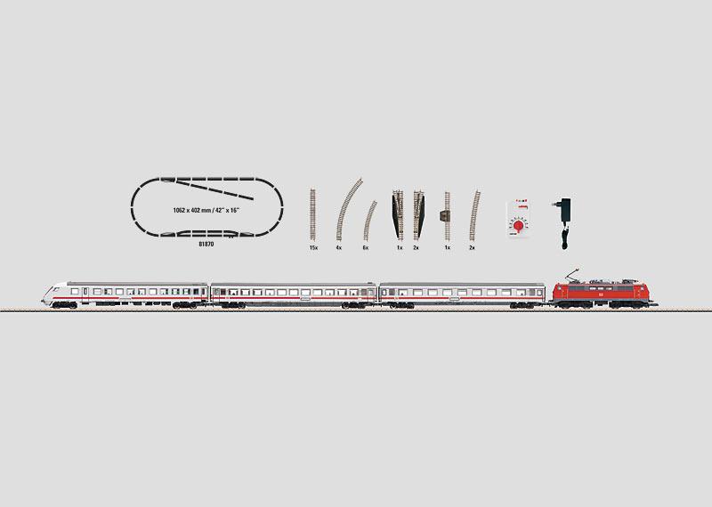 Startpackung 230 Volt. Intercity-Personenzug mit großer Gleisanlage und Steckernetzgerät mit passendem stufenlosem Fahrregler