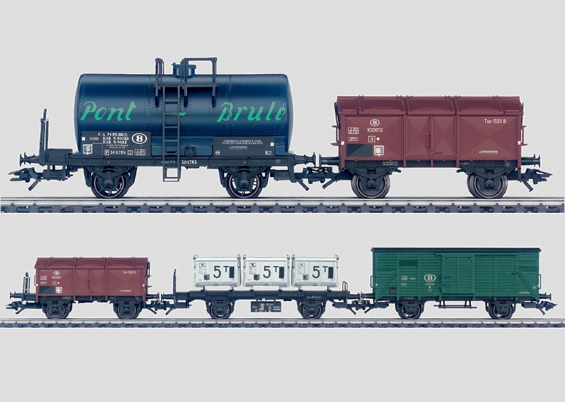 Set - 5 Oldtimer-Güterwagen.